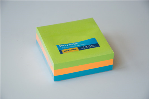 Neon 3 inches cube colorful paper sticky notes