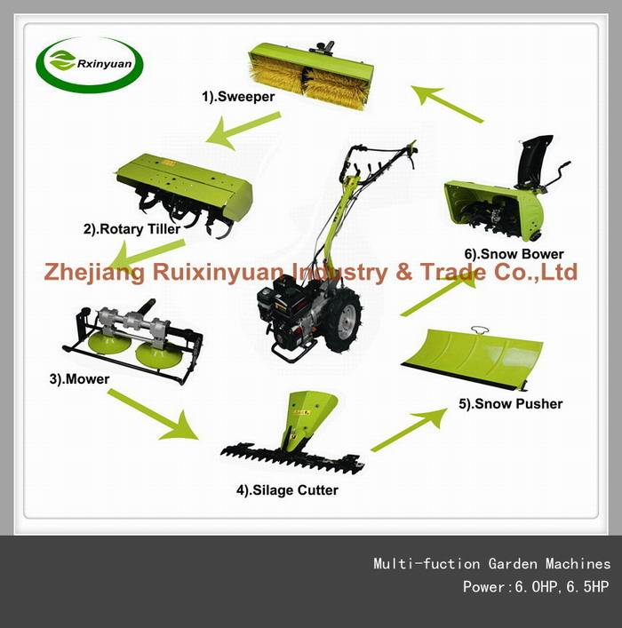 Multi-fuction 6in1 Garden Machine (Sweeper ,Tiller,Mower,Silage,Pusher & Snow Blower)