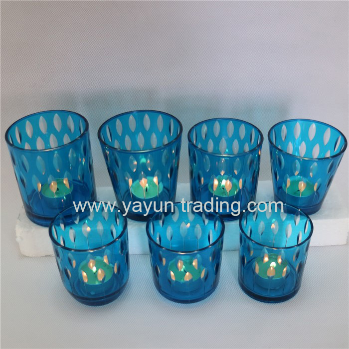 2019 new seasonal sprayed color blue series glass candle holder