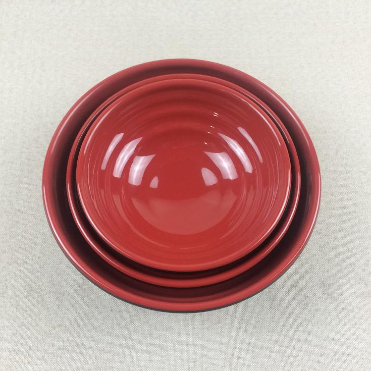 Dual color melamine noodle waved bowl