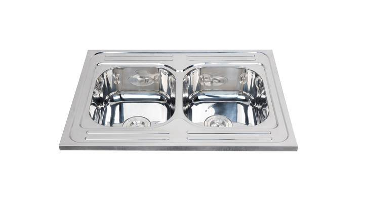 Foshan supplier modern double polished kitchen sink for sale WY-8060D