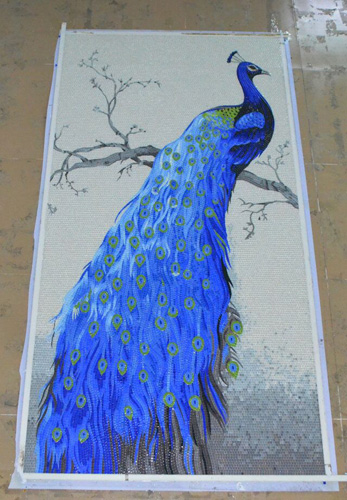 ZF-JH043 glass mosaic tiles 100% hand to be cut art peacock patterns mural wall decoration