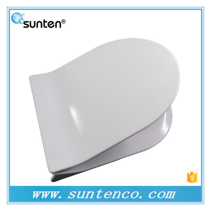 Trendy slim duroplast D shape toilet seat, hygienic white D shape toilet seat