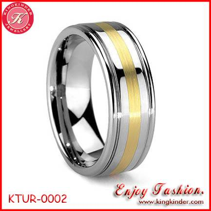 Tungsten Ring, Two Tone Gold Plated Ring, Wedding Ring, Tungsten Ring Wholesale