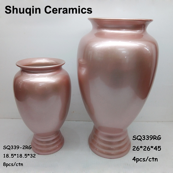 rose gold color ceramic flower vase light weight vase