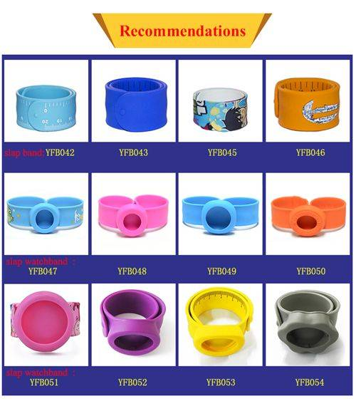 2016 Cheap BPA Free Silicone Cartoon WristBand Kids Slap Bracelets
