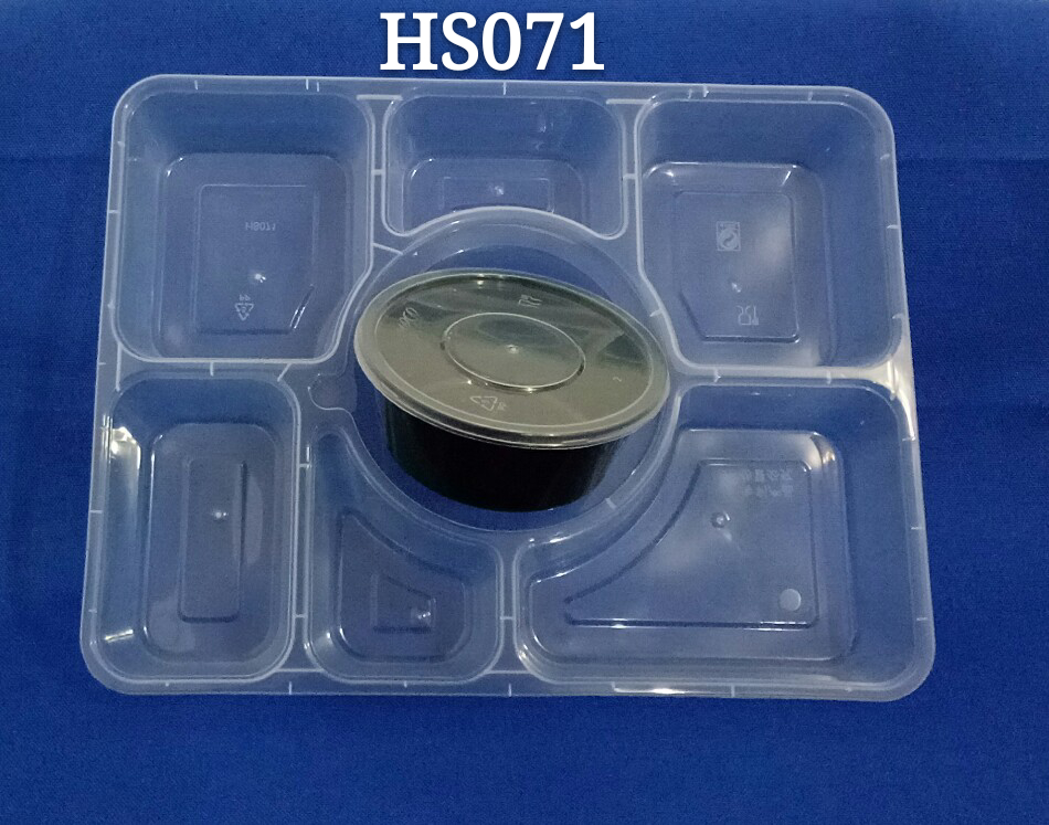 Rectangle 7+1 Seven Compartments Airtight Disposable PP Microwaveable Food Container with Lid