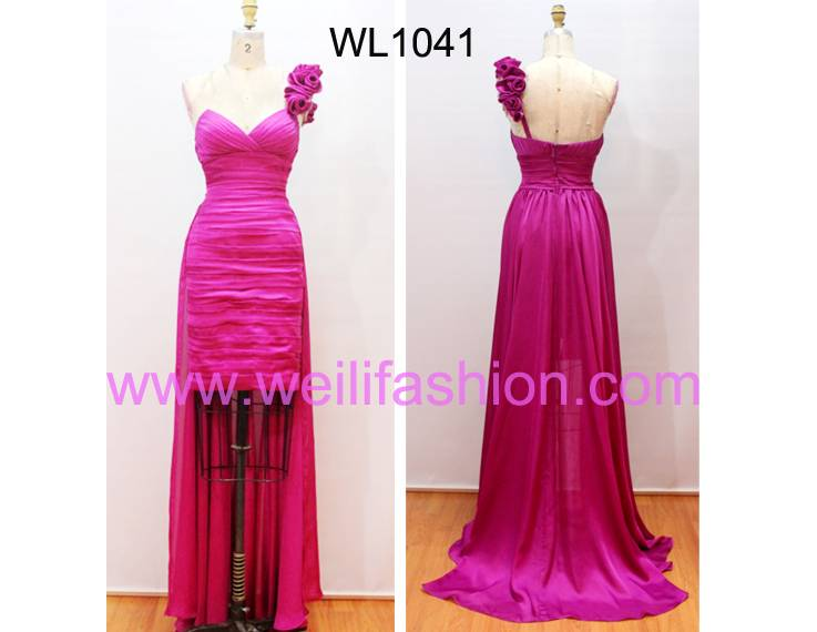 Long Cheap Pleated Chiffon Evening Dresses