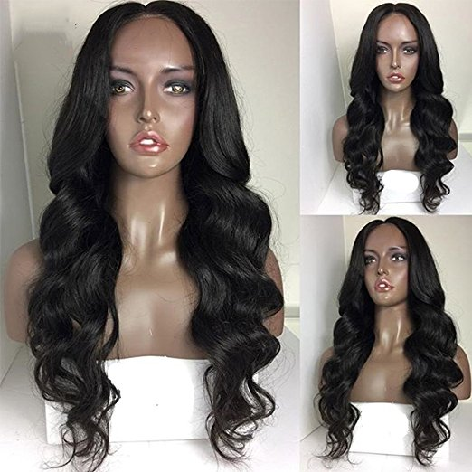 Full Lcae Wig Body Wave Russian Hair Swiss Base 22 Inch Natural Color