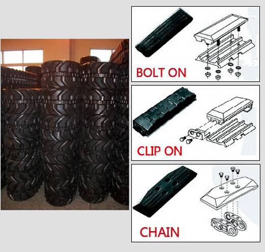 Bolt on rubber pad Clip on rubber pad Chain type pad Paver bolt on pad  track pads in GTW