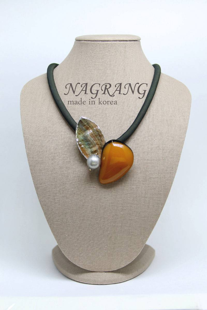 Amber brooch with rainbow abalone shell, necklace two way jewelry