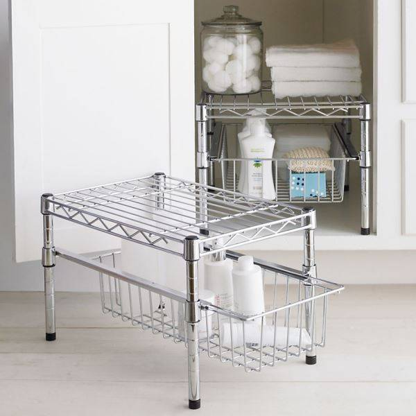 Cabinet Shelf, 2 Tiers Metal Adjustable Drawer Storage