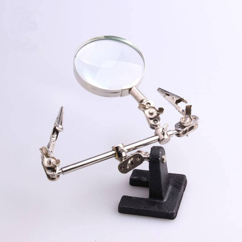 magnifying glass with electric iron clamps,60mm Auxiliary clip magnifier,three folder in hand tools