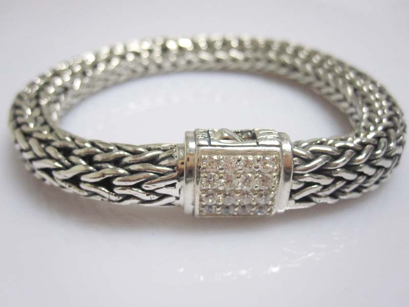 John Hardy Sterling Silver Bracelet with White Diamonds(JHB-05)