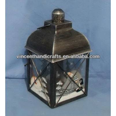 Rustic antique brass small metal candle lantern painted snowman