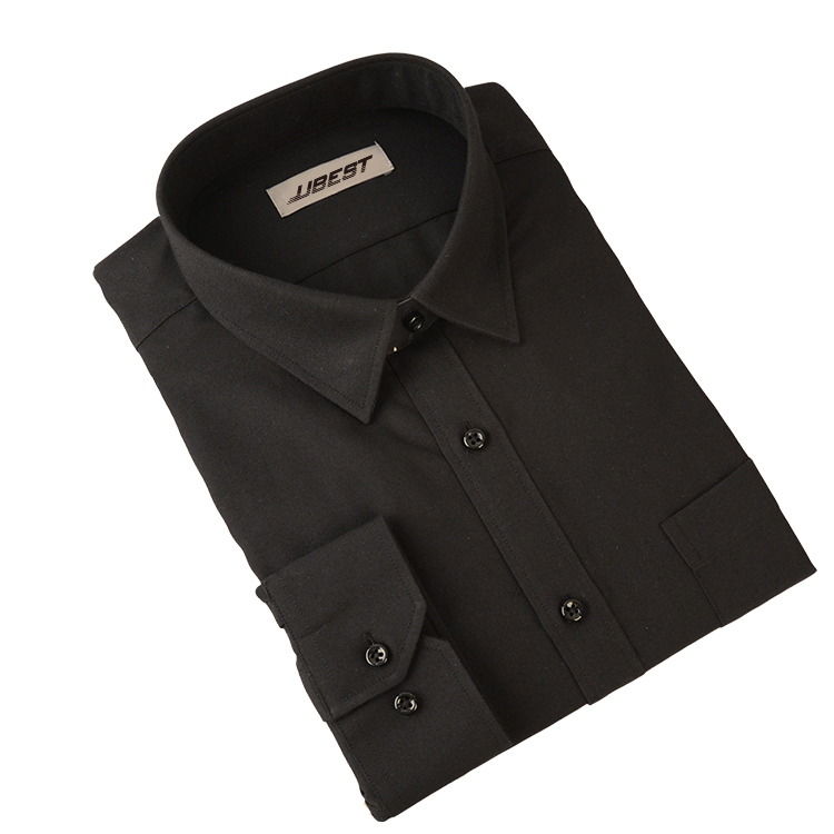 In Stock High Quality Men's Long Sleeve Formal Office Black Shirt