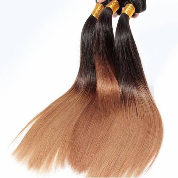 Ombre Colored Hair Weave 18-30 inch Silky Straight Two Tone Remy Hair Weaving