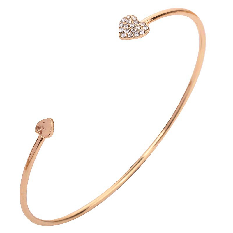 Metal Simple Double Heart Single Cuff Bangle