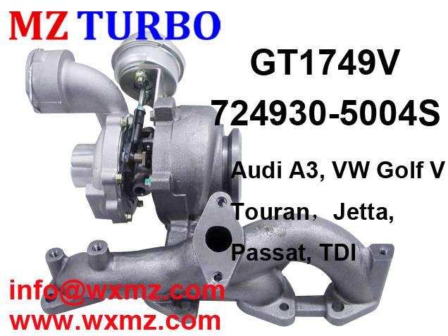 Buy MZ TURBO GT1749V 724930-5004S Turbocharger for vw golf 5