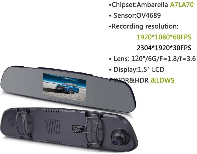 4.3inch LCD HDR A7 car dvr ambarella  full hd 1296P camera dvr car gps car G sensor rearview mirror