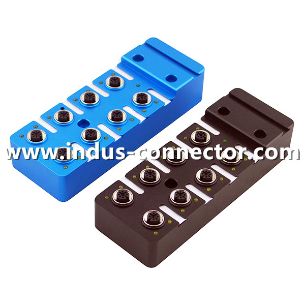 Waterproof M12 M8 Female 4 6 8 12 Ports Distrubution junction Box with M12 Connector