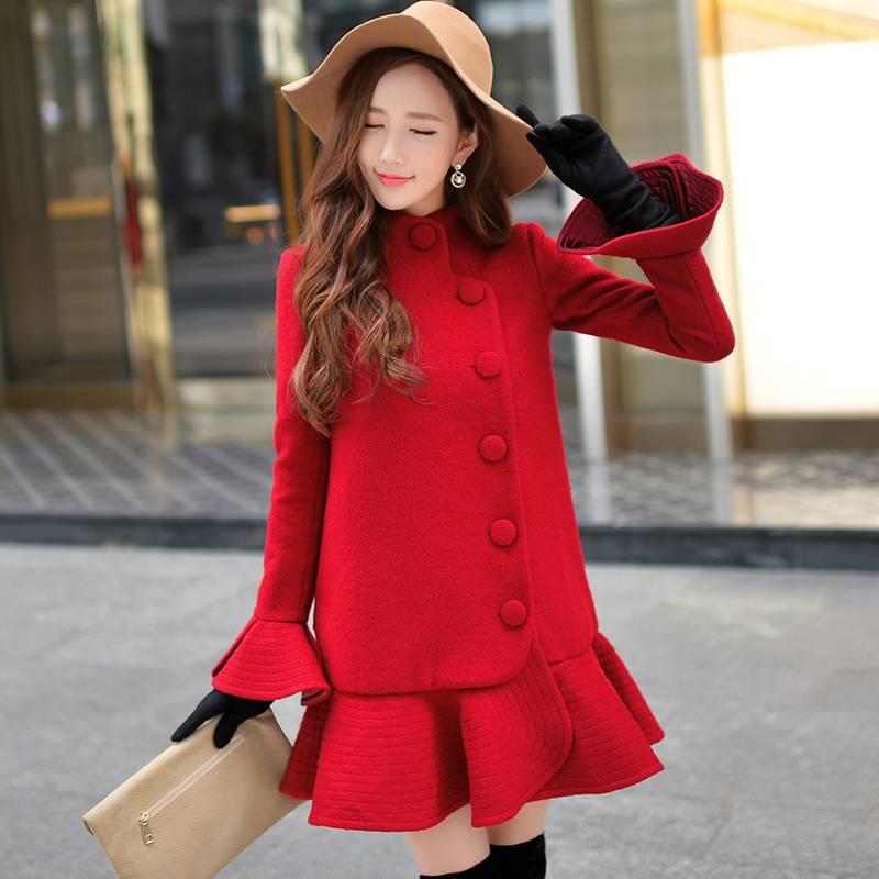 Wine Red Sheath Sweater Dress
