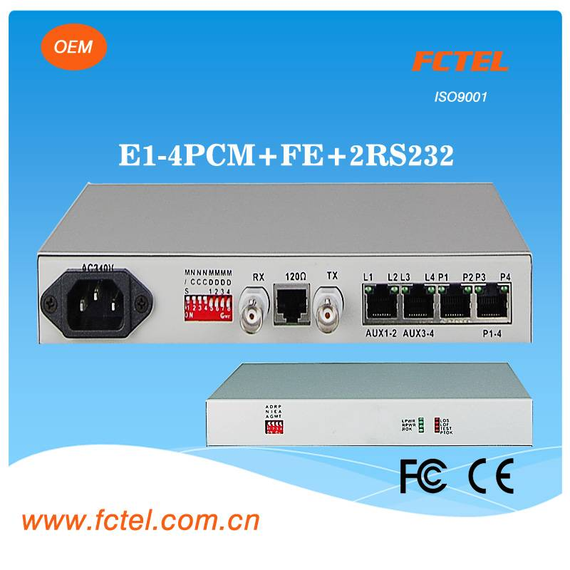 pcm multiplexer 4 fxo fxs  FE 2RS232 over coax cable