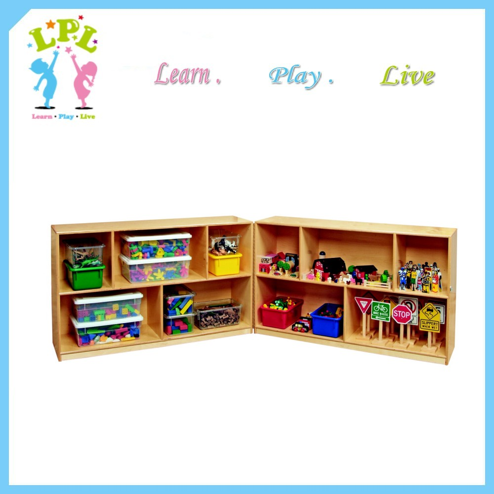 Manufacture custom different shapes and size toy bags storage unit wooden pre school furniture
