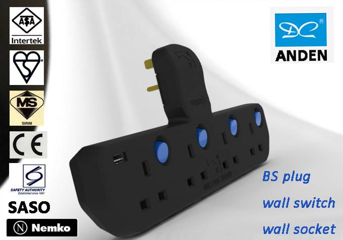 Unique design BS 1363-3 ASTA approval USB extension socket
