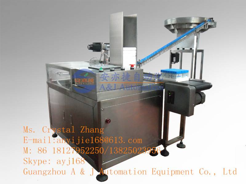 Automatic row tube and pick up to foam rack machine
