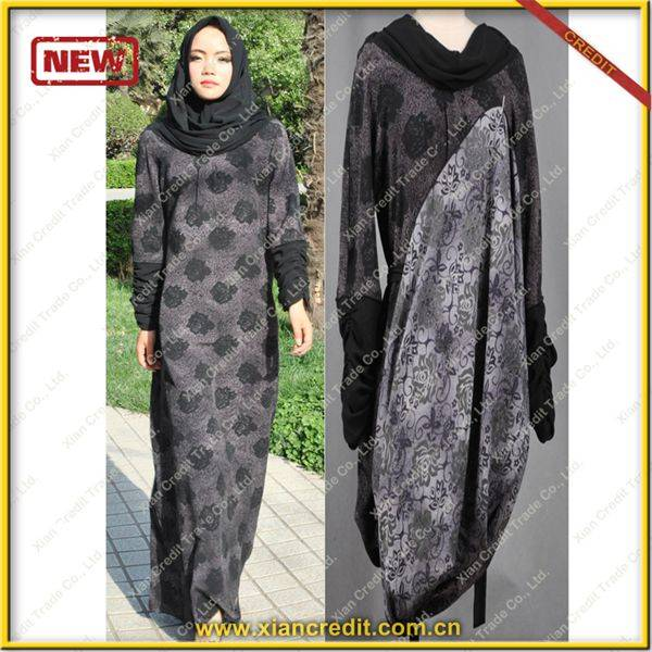2014 Newest muslim women abaya made of Two face cotton tencel prints  P001-3