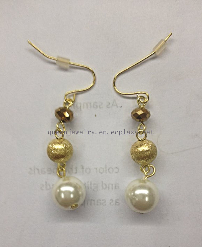 Latest design luxury butterfly shape gold pearl earrings drop eyeball jewelry
