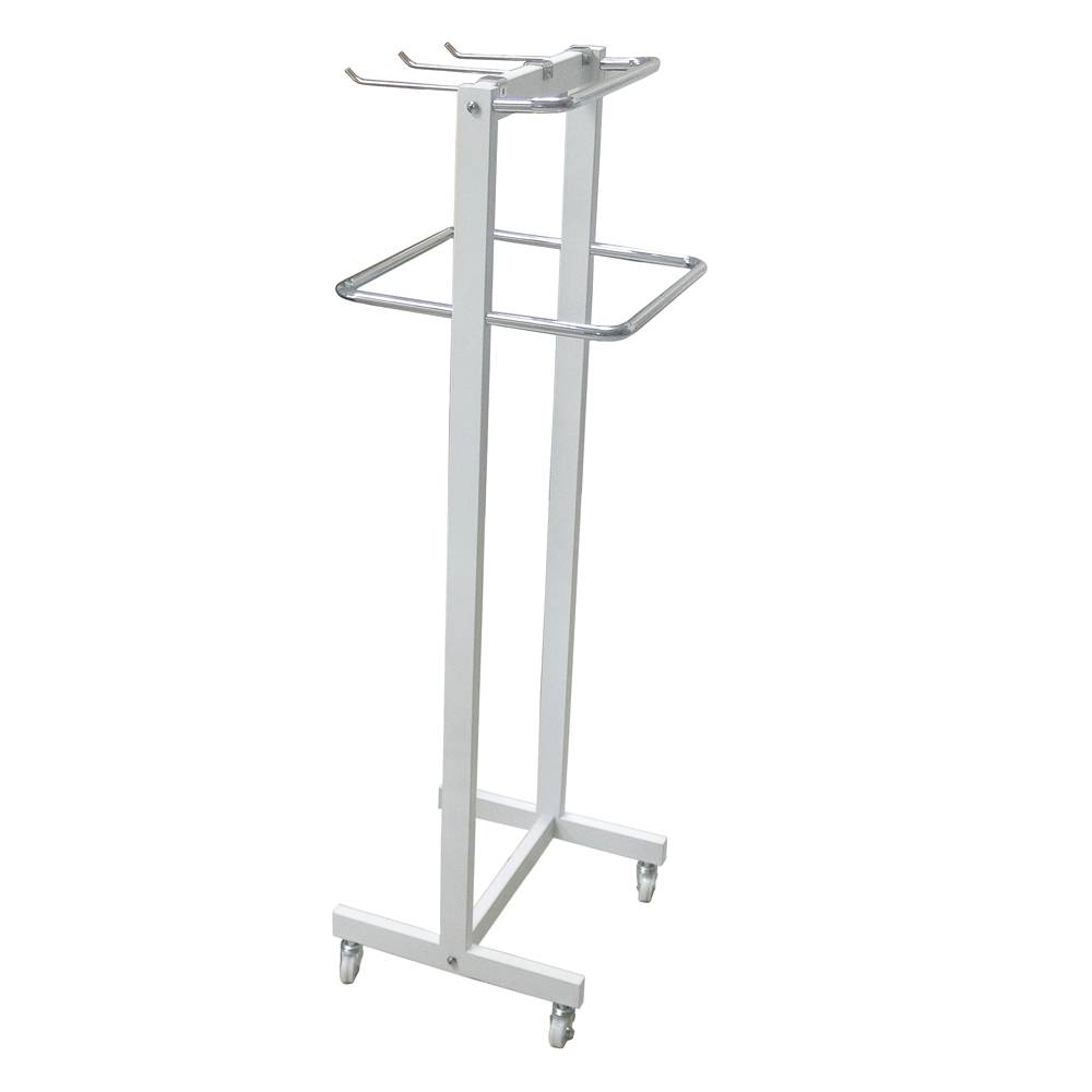 Adjustable metal clothing display stand with hooks