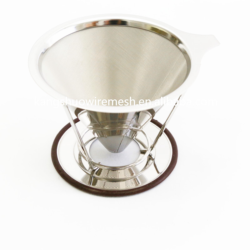 Reusable Stainless Steel Coffee Conical Dripper Double Mesh Coffee Filter with Removable Cup Stand