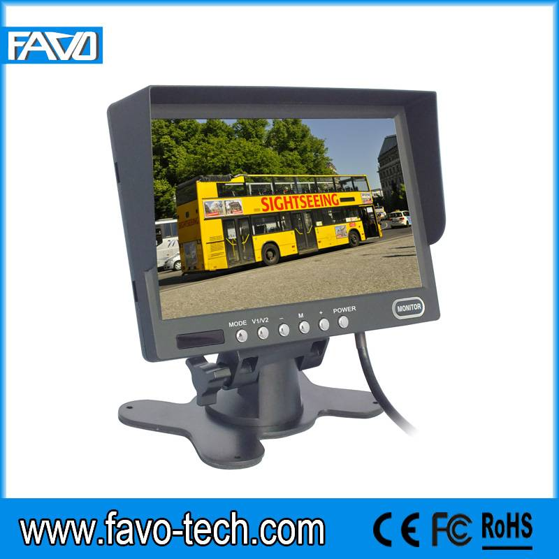 7'' LED Backlight DC12V~DC24V Dual Voltage 2 AV Inputs Reversing Monitor with Sun Shield and Remote