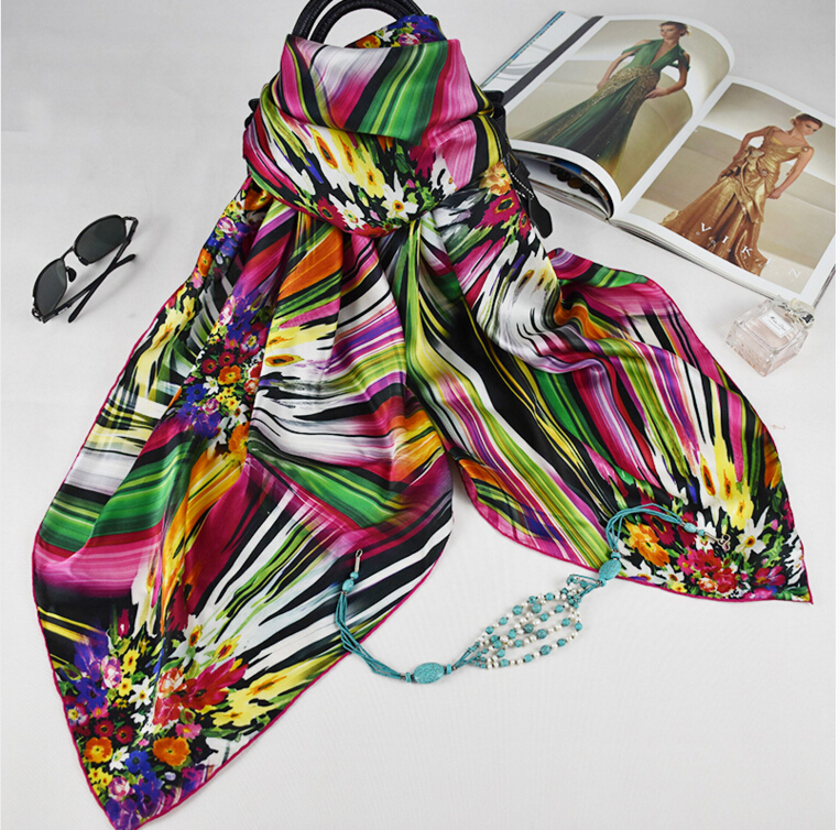 custom design silk satin scarf digital printing