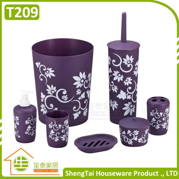 6 Pcs Plastic Flower Pattern Bathroom Set Modern