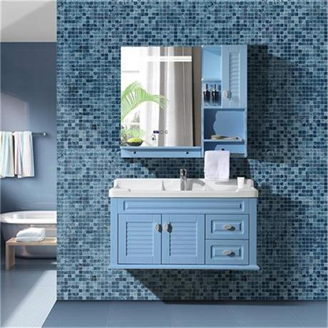 New style PVC bathroom vanity, pastoral style with intelligent mist removing mirror, countertop