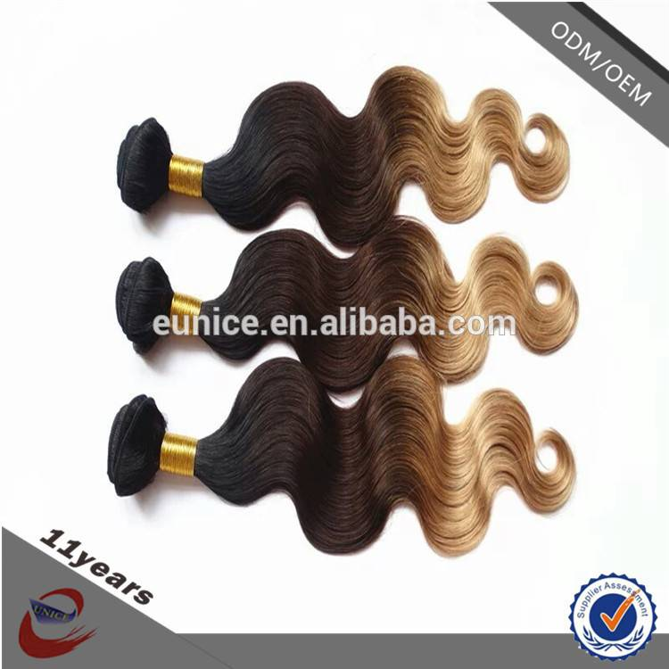 Wholesale Blue Three Tone Body Wave Ombre Color Hair , Malaysian 3 Tone Ombre Hair