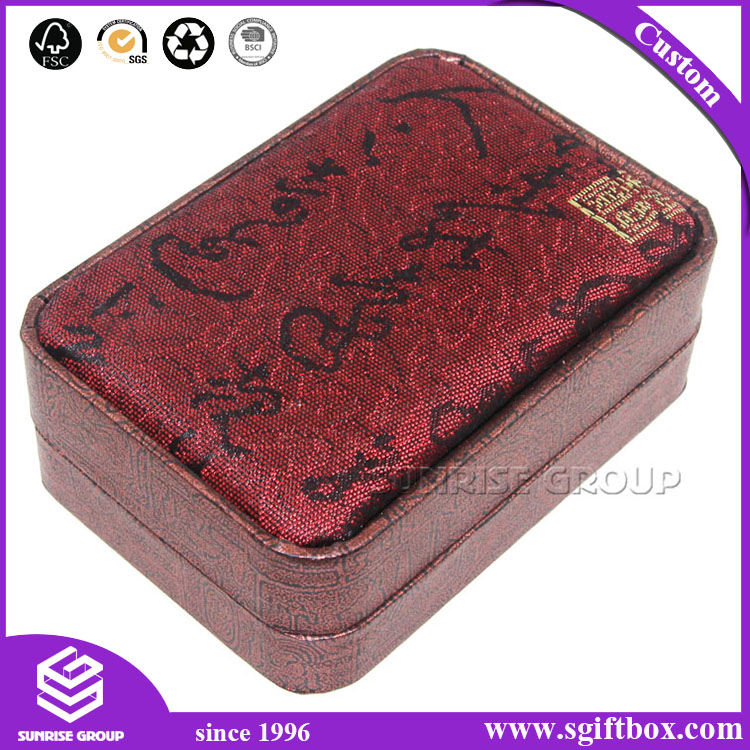 Branded Custom Chinese Red Silk Fabric Covered Logo Printing Magnet Jewelry Box