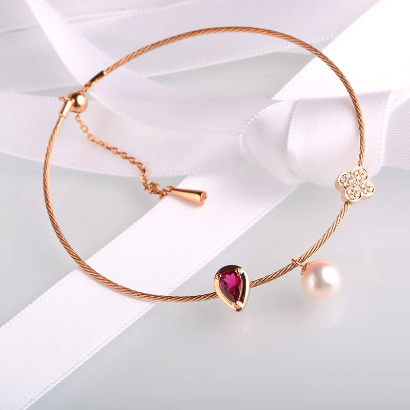 Bangle 18K Rose Gold with Semi-precious Tourmaline Stone Bracelets for Women