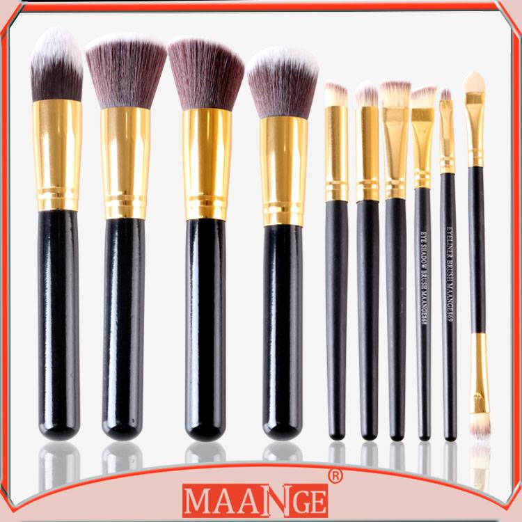 MAANGE 10 piece black wooden handle makeup kits nylon hair