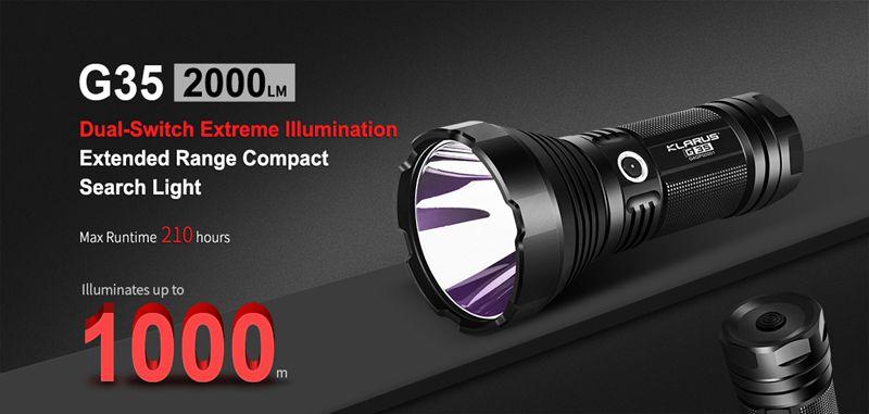 Dual-Switch Extreme Illumination Search Light-Klarus G35