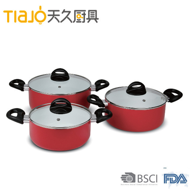 Colorful aluminium forged ceramic coating sauce pot with glass lid and 2 handle