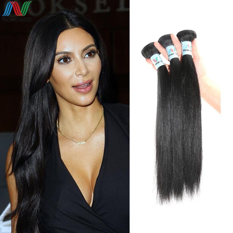 Unprocessed human raw hair straight virgin hair natural black brazilian hair peruvian hair weaving