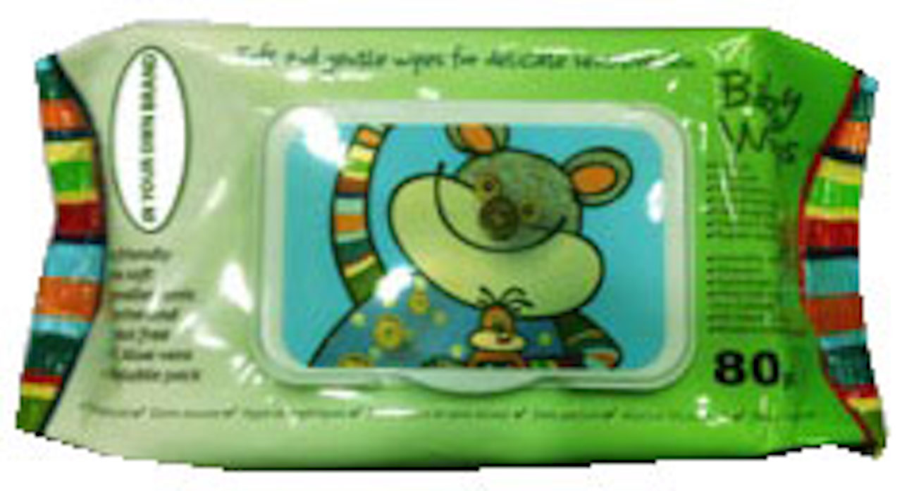Baby Wipe, 15x20cm, 50gsm, Aloe,  Soft Pack w/Flip Top Lid