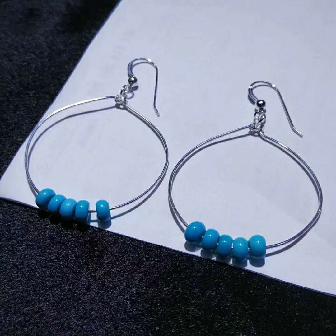 925sterling silver earrings wedding jewelry natural turquoise beads jewelry
