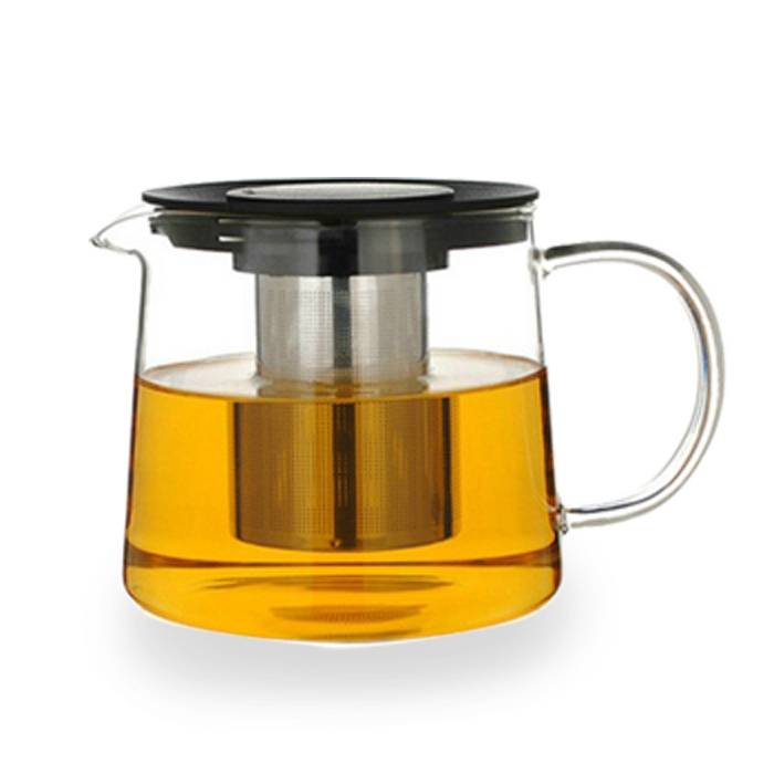 Borosilicate glass teapot with stainless steel strainer