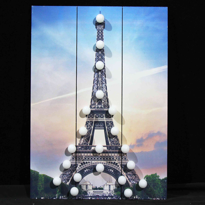 wooden Eiffel tower wall plaques led