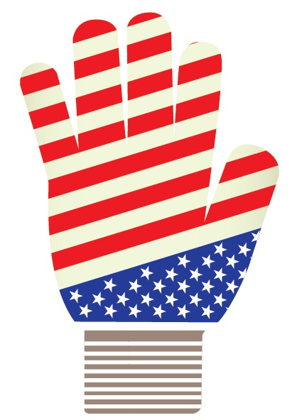 souvenir glove, knit glove US flag